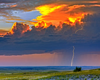"""Lightning on the Prairie"" (Badlands of South Dakota}"